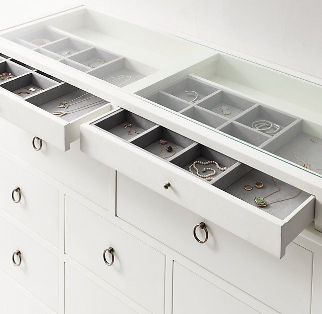 RH TEEN's Bryn Wide Dresser & Jewelry Topper Set:Our collection is timeless and versatile – featuring simple lines and pared back styling. A waxed white finish, ring pulls and a multitude of storage options lend it modern sensibility.
