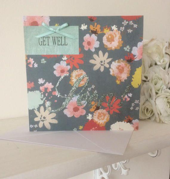Glitter Text Get Well Soon Card by HambleAndPopsShop on Etsy