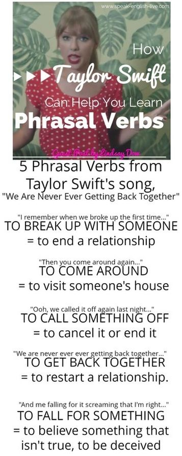 "I remember when we broke up the first time = broke up = break up To 'break up with someone' means to end a relationship with them. Here, Taylor is remembering the first time they ended their relationship.  Then you come around again = come around To 'come around' means to visit someone's home. Taylor's ex is visiting her at her home again.  ​I say, ""I hate you,"" we break up, you call me, ""I love you."" = break up They're ending their relationship...again!  Ooh, we called it off again last…"