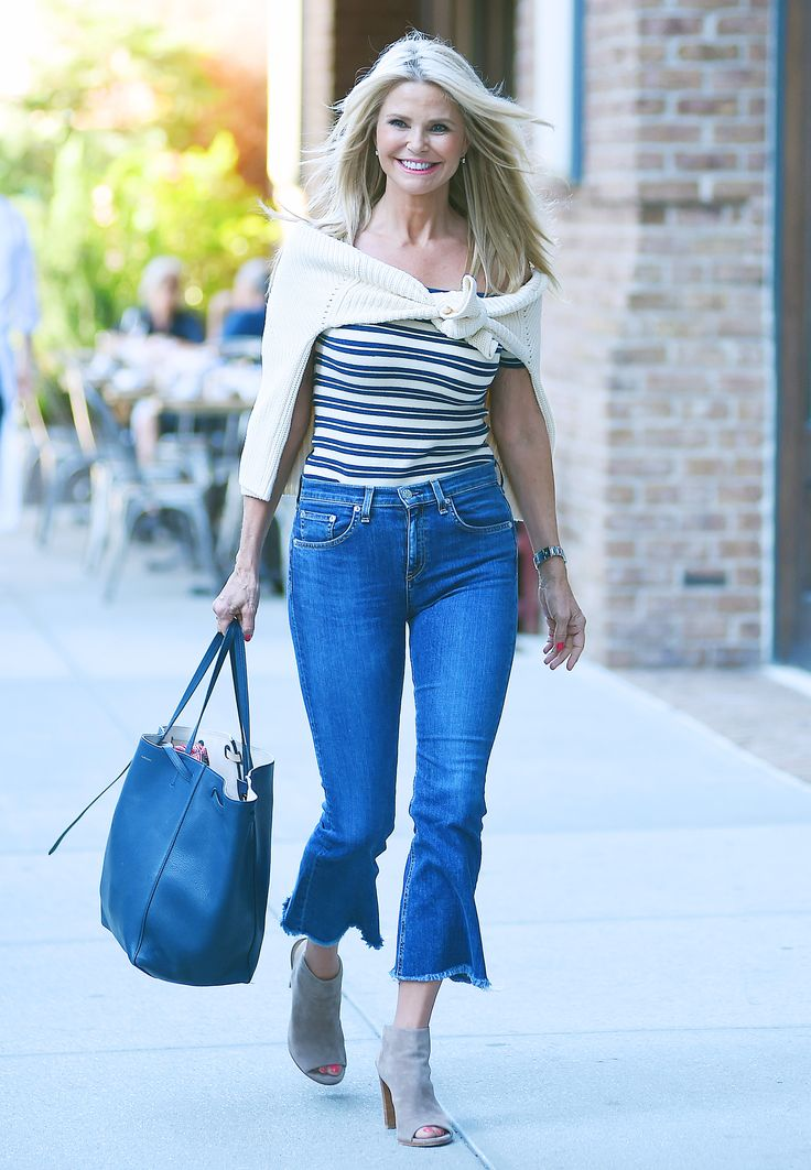 Ageless Christie Brinkley Shows Off Her Toned Physique in Kick-Flare Jeans from InStyle.com Love the kick-flare!!