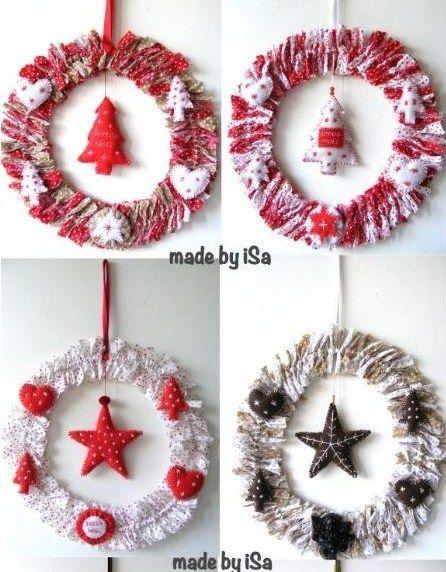 Tutos couronnes de Noël récup tissu  – DECORATION