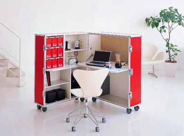 perfect portable home office for those who want to easily fold and roll away the work station at the end of the day!