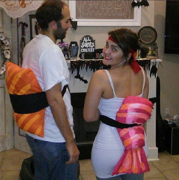 Homemade Sushi Costumes - These Yummy Cheap Couple Costumes Consist of Sushi-Mimicking Pillows
