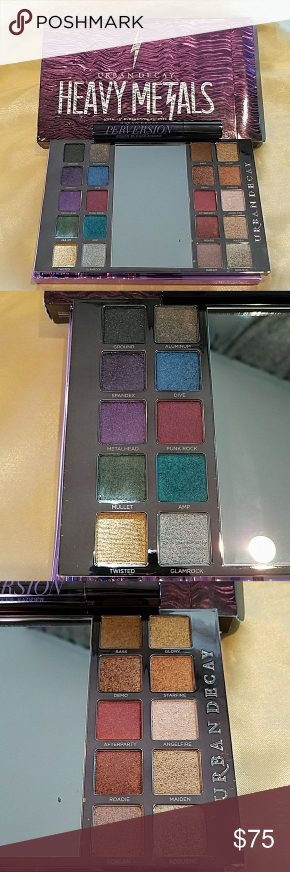 Urban Decay Heavy Metals Eyeshadow Palette Bundle A gorgeous collection of jewel toned metallic eyeshadows. Buttery with gorgeous payout. A very limited holiday edition now sold out everywhere ($60). You will love these colors year round! Bundled with a full size,  NWOB Perversion mascara ($24). Urban Decay Makeup Eyeshadow