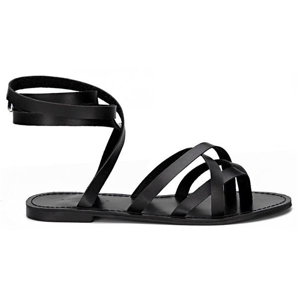 Yoins Black Pin Buckle Tie-up Ankle Strap Cross Over Strap Flat... ($29) ❤ liked on Polyvore featuring shoes, sandals, black, flat gladiator sandals, black gladiator sandals, strappy flat sandals, black flats and ankle tie sandals