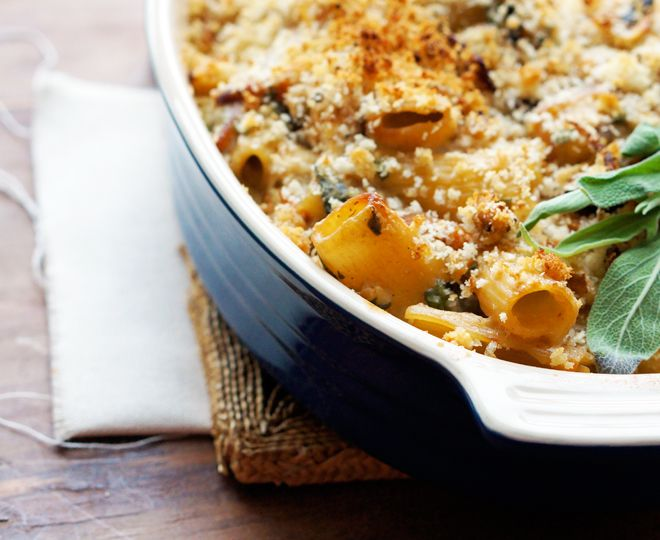 Creamy baked rigatoni with butternut squash and goat cheese