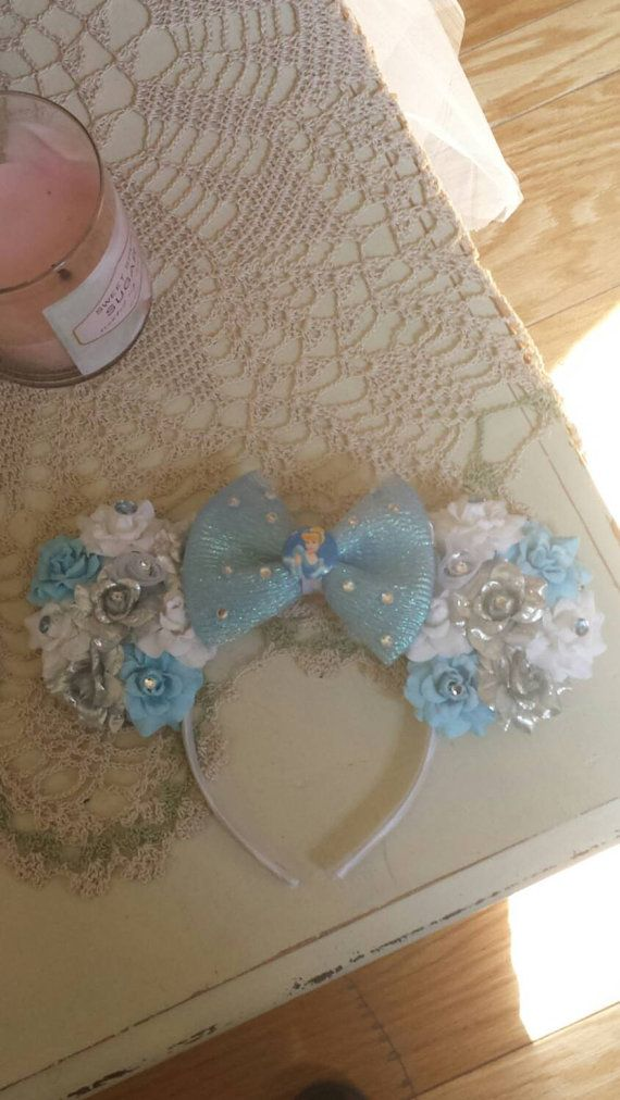 Cinderella ears with Bow and rhinestone by DessieDaisiesDesigns