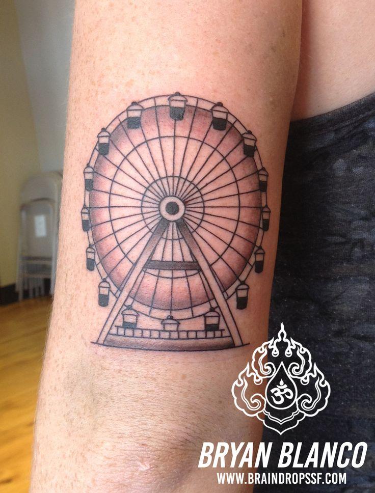 Bryan blanco tattoo tattoos ferris wheel linework for Ferris wheel tattoo