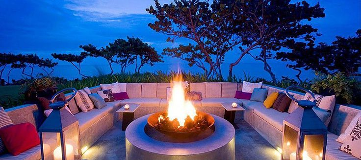 concrete outdoor sofa with a view to kill for