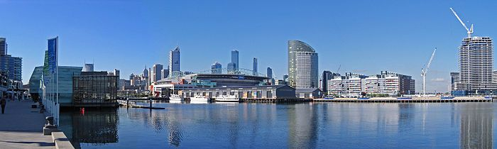 A panoramic view of the Melbourne Docklands and the city skyline from Waterfront City looking across Victoria Harbour.