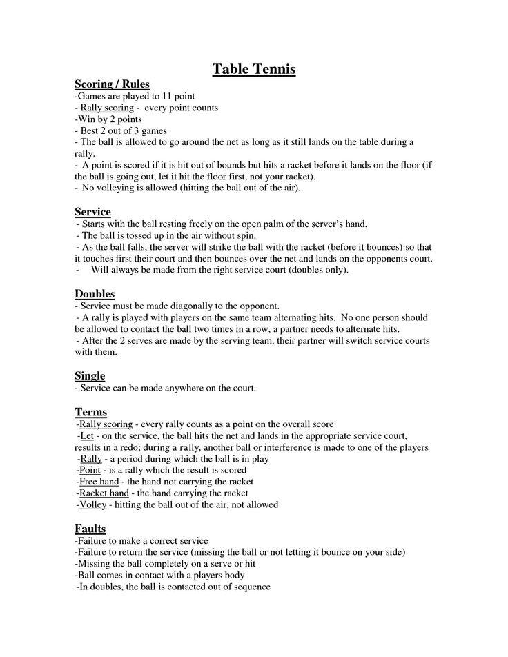 table tennis rules | rudaí | pinterest | tennis rules and tennis