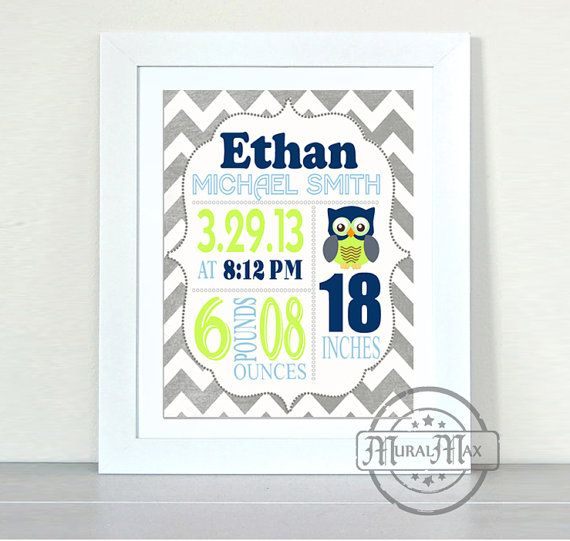 Birth Announcement Wall Art  Baby Boy announcement  by MuralMAX
