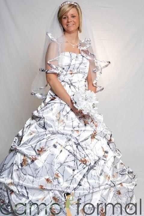 Black and white camo wedding dresses