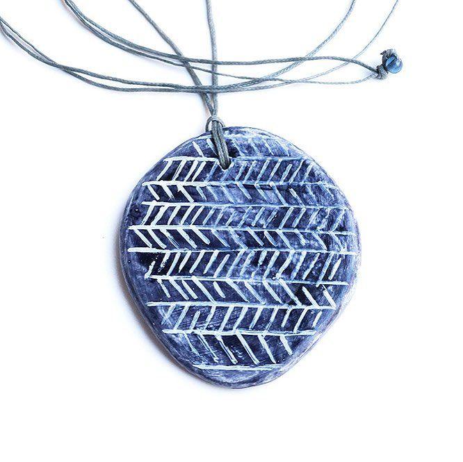 """Gray clay pendant"" Anna Spathari"