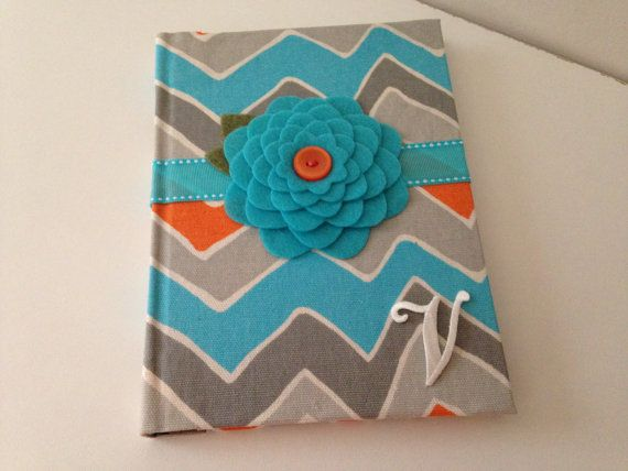 """Chevron Fabric Covered Blank Lined Book Mom Journal with option for a Personalized Monogram - 6"""" x 8"""""""
