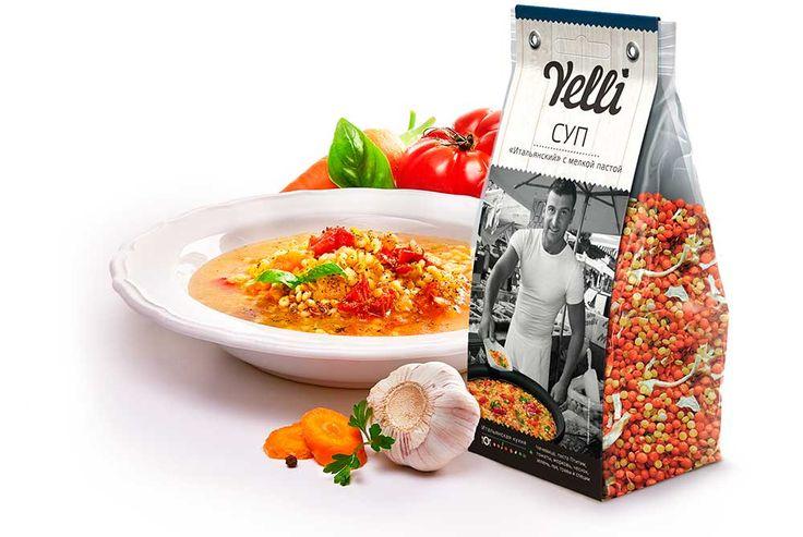 """Суп «Итальянский» c мелкой пастой  — оригинальный суп с мелкими макаронами и чечевицей.  Итальянцы в любой суп, особенно с бобовыми, любят добавлять мелкую пасту. Основу этого оригинального супа составляют красная чечевица и нежная мелкая паста — птитим. По традиции в итальянский суп добавляют овощи, зелень и специи, и, как завершающий аккорд, при подаче заправляют тёртым """"Пармезаном""""."""