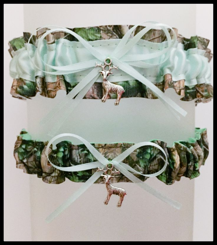 Sexy Realtree Mint Green Satin Wedding Keepsake Or Garter Set - Bridal Set - Pick Your Charm - Camouflage Prom Weddings Accessories by BellaDivaCouture on Etsy