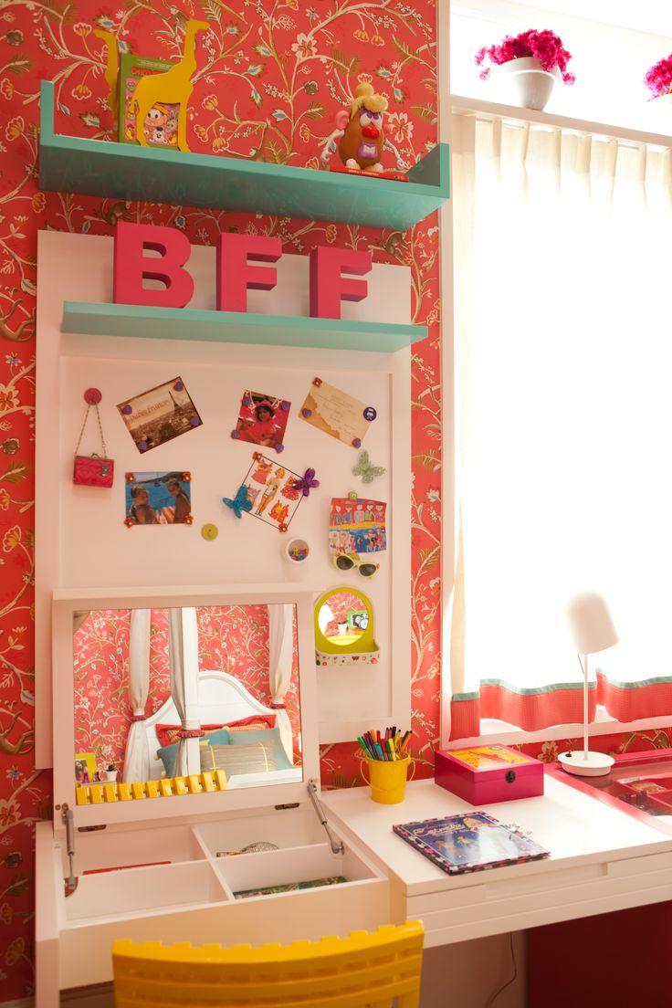 Ambientação Carla Barranco - escrivaninha penteadeira APRONTA www.apronta.com.br www.casaprontaquartos.com.br
