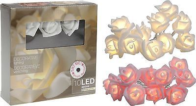 2 Farben 10 LED Lichterkette Rosen Lichtgirlande Hochzeit Tischdeko Batterie