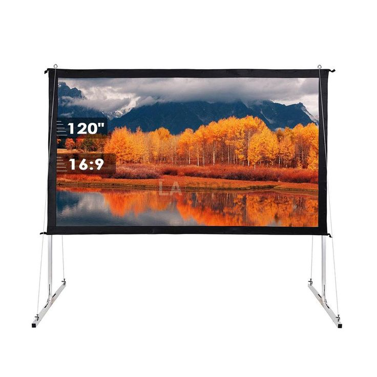 "100"" 120"" 135"" Opt 16:9 Portable Projector Screen Free Stand w/ Legs"
