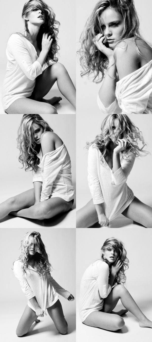 So many poses! Great black and white modeling set with just a baggy white shirt.
