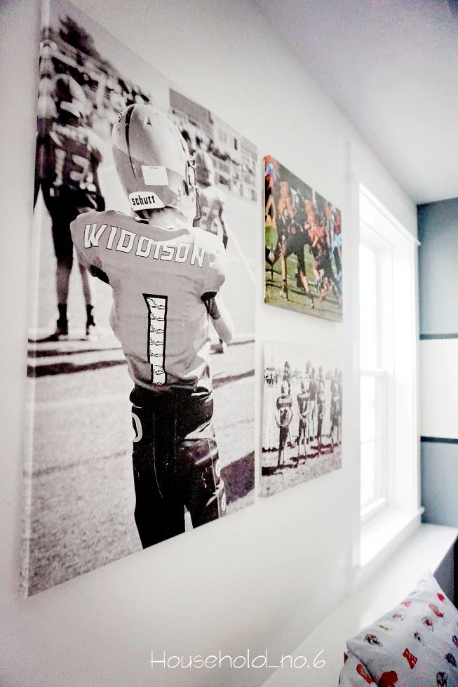 Boys football themed bedroom. Grey and white with football decals. Modern, classic and clean. Household No.6 » Northern Colorado renovations and designs