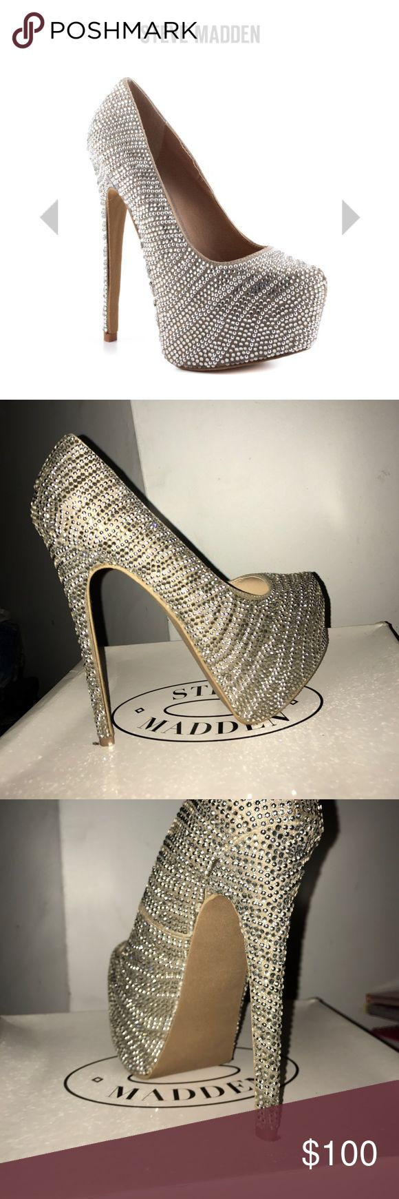 Rhinestone Platform Heels Worn once for an hour or two. Barely walked in them.  Could sell through E bay for cheaper Steve Madden Shoes Platforms