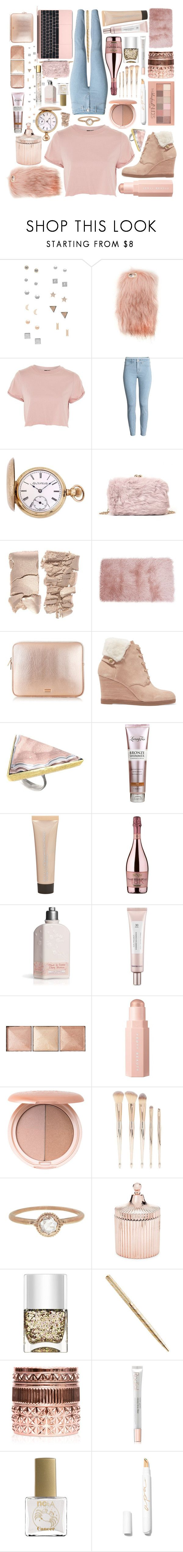"""""""Untitled #76"""" by ltylerrr ❤ liked on Polyvore featuring GUESS, Forever 21, Topshop, Elgin, MICHAEL Michael Kors, Becca, SENSI, Thank You Farmer, Hourglass Cosmetics and Stila"""