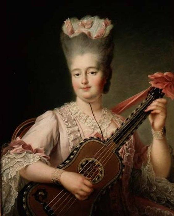 Madame Clotilde playing the guitar by François-Hubert Drouais 1775 Interesting that the guitar strings appear not to be double course... http://www.the-athenaeum.org/art/detail.php?ID=92420