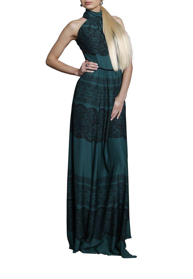 Платье с американской проймой, из вискозы зеленого цвета. Детали: тесьма из бисера на талии. Детали http://fas.st/yJIo-_