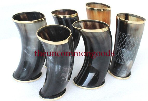 """4 PCS ASSORT BUFFALO HORN GAME OF THRONE MEDIEVAL DRINKING ALE CUP MUG 5/"""""""