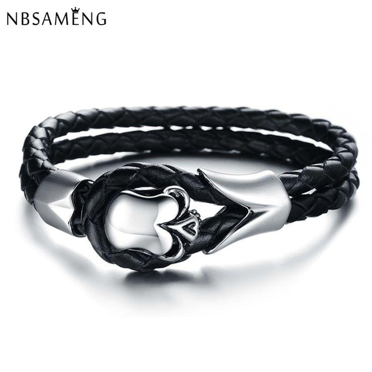 2016 New Fashion Jewelry Punk Skull Stainless Steel Bracelet Pulseras Men Black Genuine Leather Bracelets & Bangles YK2013 //Price: $14.69 & FREE Shipping //     #skull #skullinspiration #skullobsession #skulls