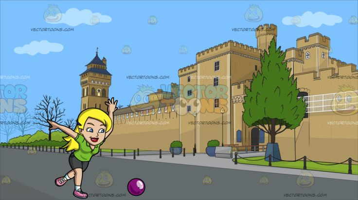 A Woman Hoping To Strike All Pins With A Bowling Ball At The Exterior Of Cardiff Castle :  A woman with clipped blonde hair wearing an apple green polo shirt dark gray shorts white socks and pink shoes smiles in happiness as she leans forward and swings her arms to roll the violet bowling ball with her right hand. Set in a castle with beige walls known as the cardiff castle with trees and low fences.