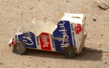 Car Made Out Of Milk Carton In Malawi