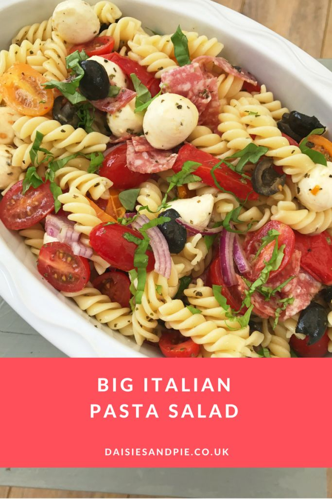Delicious and easy big Italian pasta salad recipe - we love this for dinner on warm days, just 10 minutes of cooking make this dish a perfect quick fix. Easy pasta recipe.