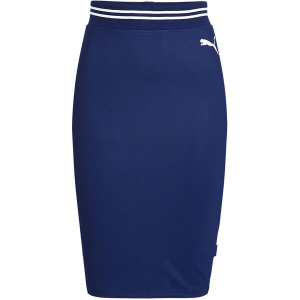 FENTY Puma by Rihanna Varsity Pencil Skirt ($150) ❤ liked on Polyvore featuring skirts, blue, striped jersey, stripe skirt, jersey pencil skirt, sports skirts and sports jerseys