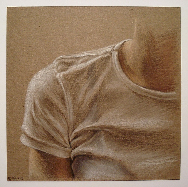 drapery study in coloured pencil on tinted paper - yr 10-11