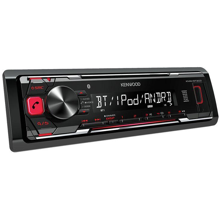 Kenwood Autoradio KMM-BT203  Description: De Kenwood KMM-BT203 is een geavanceerde autoradio zonder cd-speler en is ruimschoots voorzien van de nieuwste snufjes. Via de verlichte USB-poort aan de voorzijde sluit je je favoriete digitale geluidsdrager aan. Voor smartphones is de Kenwood KMM-BT203 compatible met iPhone Playback en Android Music Playback. De LCD display met 13 karakters geeft je de essentiële informatie. Daarnaast kan je handsfree bellen via Bluetooth. De knoppen lichten rood…