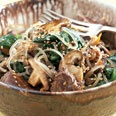 Jap Chae (Korean Sweet Potato Noodles with Veggies) : I've tried a couple different jap chae recipes and this one was my fave. Simplified it by sauteing the spinach at the end.: Noodles Japchae, Japchae Recipe