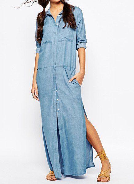 Stylish Turn-Down Collar Long Sleeve High Slit Denim Dress For Women