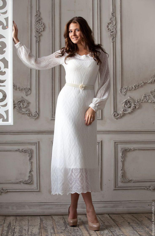 """Купить Платье """"Снежинка"""" - белый, однотонный, мохеровое платье, платье из мохера, нарядное платье"""