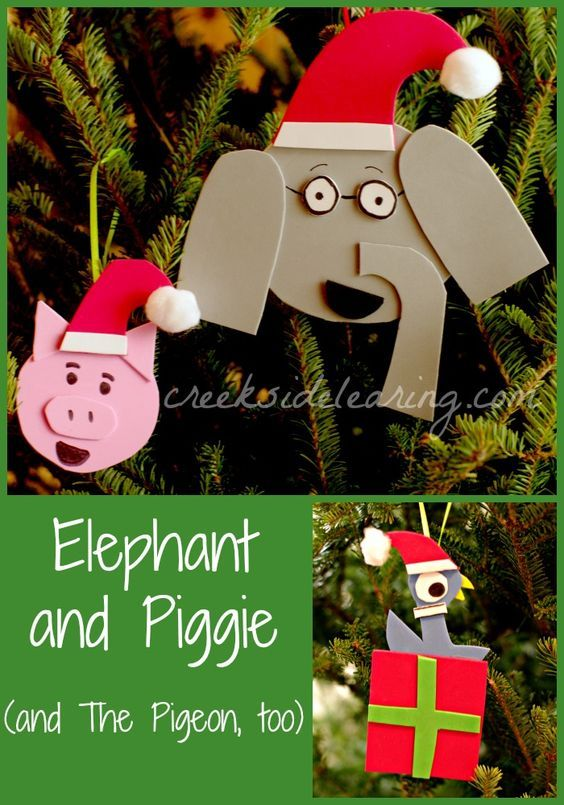 Cute holiday ornament crafts, inspired by Elephant and Piggie and The Pigeon, from wonderful beginning reader books by Mo Willems. | Creekside Learning