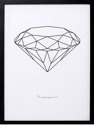 Bloomingville lijst met grafische print diamant
