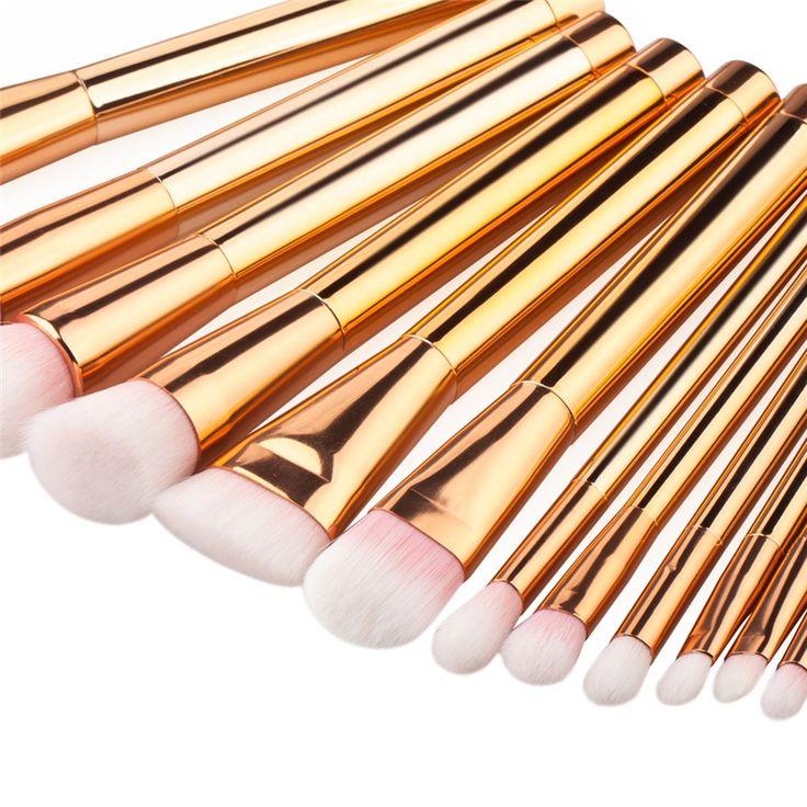15 pcs Ouro Rosa Pincéis de Maquiagem Ferramentas Set Nylon Cabelo Escova de Fundação Blush Em Pó Corretivo Make Up Kit Cosméticos em Escovas & Ferramentas de Beleza & Saúde no AliExpress.com | Alibaba Group