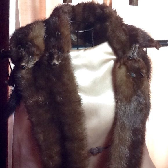 REAL VINTAGE MINK STOLE W/4 WHOLE MINKS VINTAGE  4 real whole dark colored minks, heads, bodies, legs and tails in this neck wrap stole.  In excellent condition.  Crocheted button closures.  The real thing.  Very Artsy. Accessories Scarves & Wraps