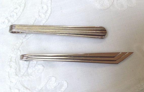 2 Vintage tie clips silvertone metal by karmolijntje on Etsy