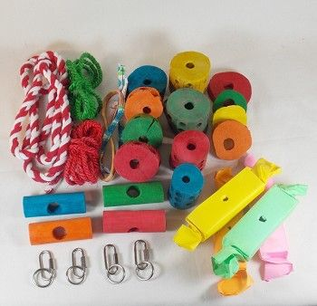 28 Piece Wooden Collection Kit to Create Your Own Bird Toys by Living World