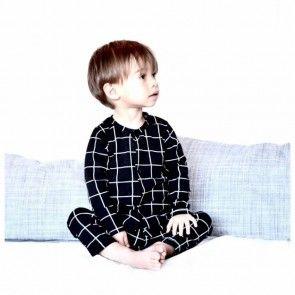 Hey BB baby onesie cq slaappakje 'black grid' - handgemaakt van biologisch katoen.