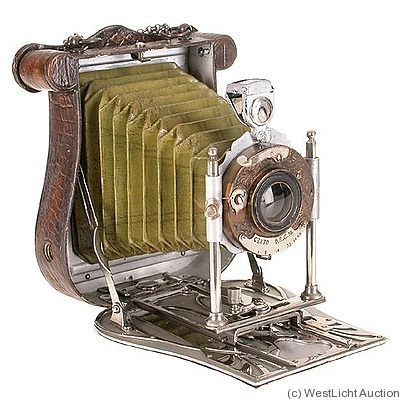Certo, Damen-camera c1900s. 6x9cm plates, lyre-shaped, handbag camera