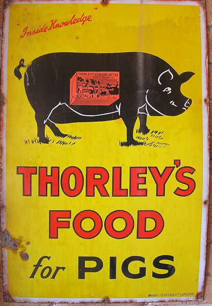 early agricultural pig food advertising sign original